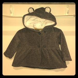 Gray dress coat with hood